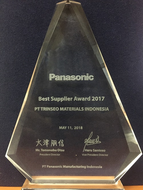 Best Supplier Award 2017 from Panasonic