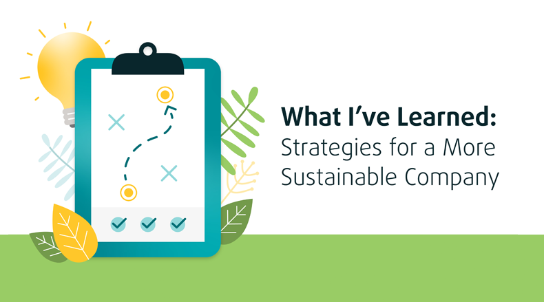 Graphic that reads 'What I've Learned: Strategies for a More Sustainable Company'
