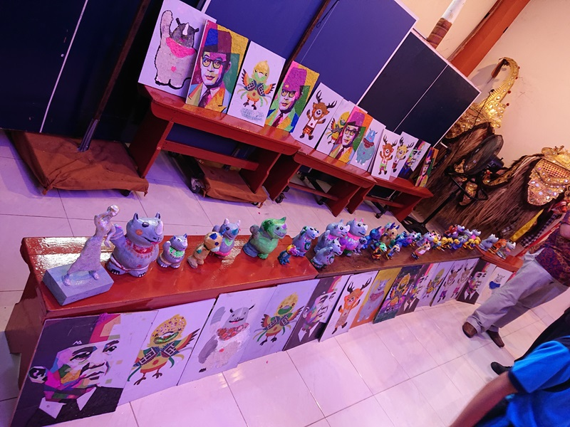 Displayed art pieces from the event