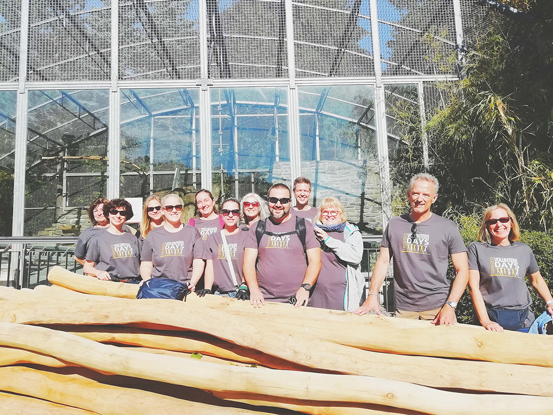 Group photo of Trinseo employees volunteering at the Eschborn Zoo in Germany